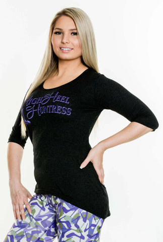 High Heel Huntress Hi Low Tunic with Purple Logo