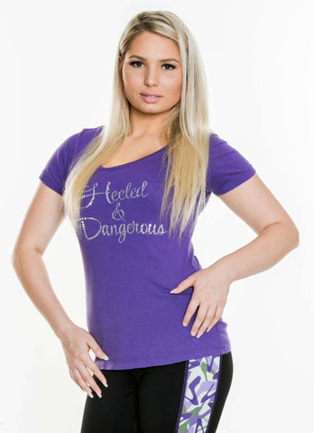 Heeled & Dangerous Rhinestone Scoop Neck Purple Tee