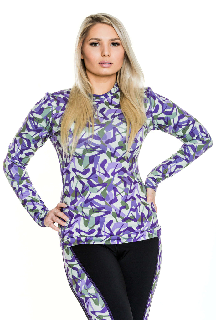 Camo Purple Base Layer Top