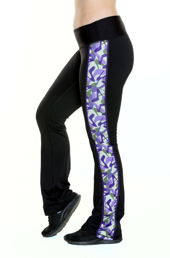 Black and Camo Purple Warm Boot Cut Legging