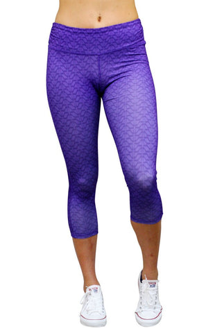 Cropped Leggings 2-Tone Purple High Heel Pattern