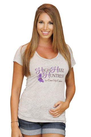 High Heel Huntress V-Neck Tee - Grey