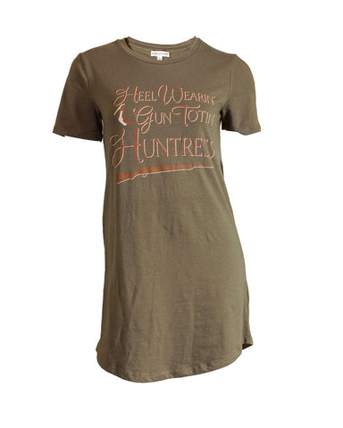 Gun Totin' Huntress Longline Cotton Tunic Tee Tan Logo