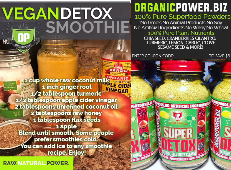 Organic Vegan Superfood Detox Smoothie w/ Ginger, Coconut Milk, Tumeric, Apple Cider Vinegar