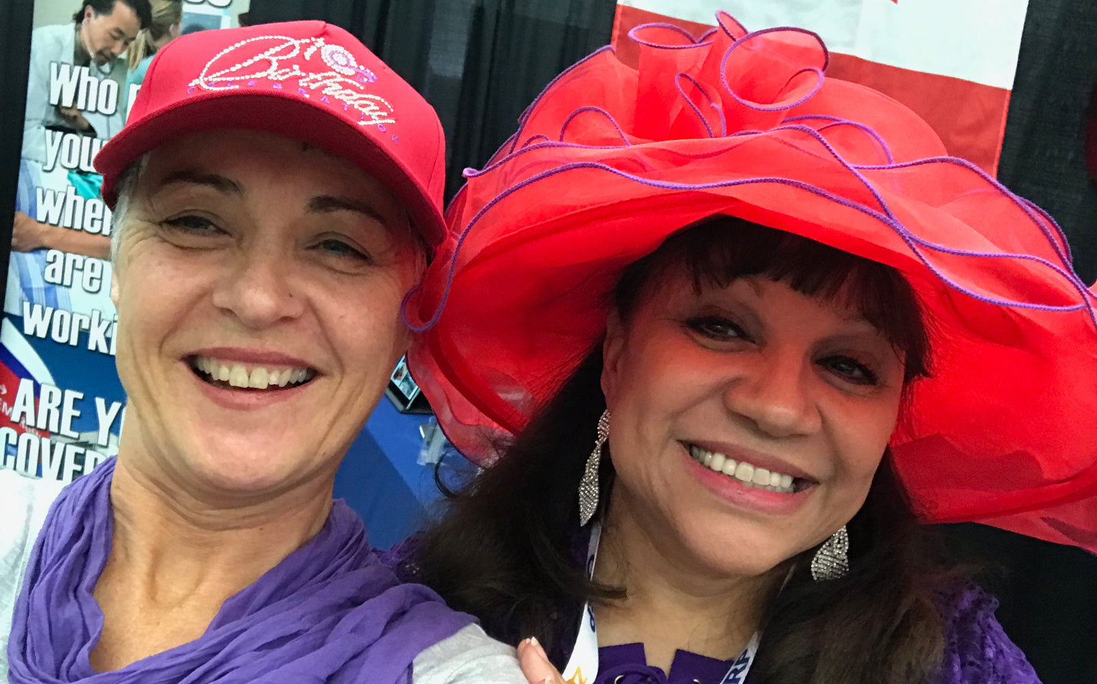 two Red Hat ladies wearing red hats and purple wrammecool
