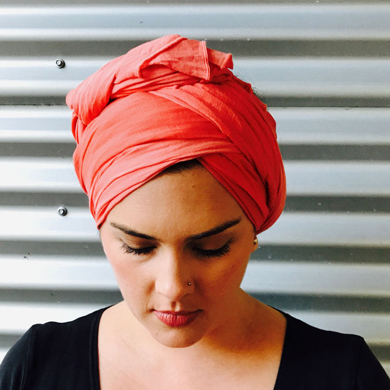 Erin with orange wrap as turban