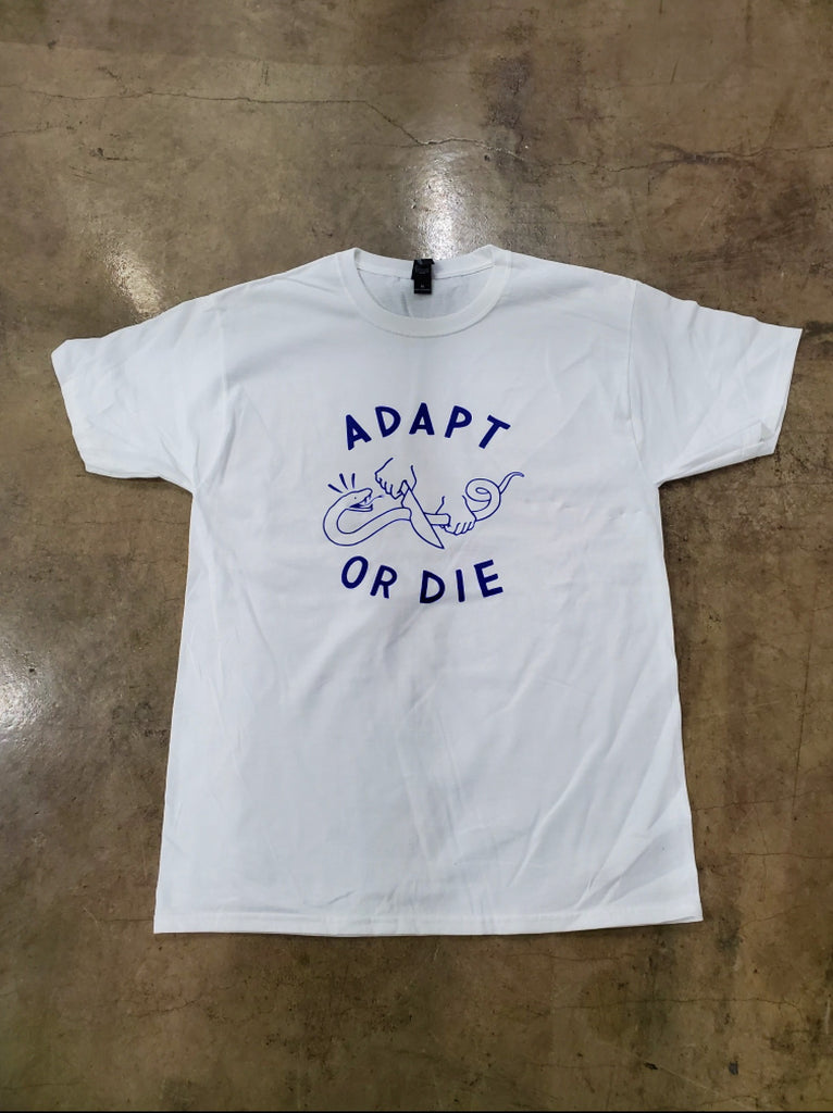 White Adapt or Die Tee - Blue Text
