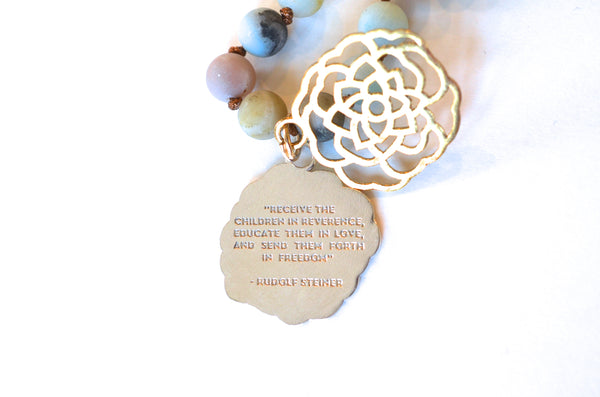 Rudolf Steiner Quote Camellia Necklace