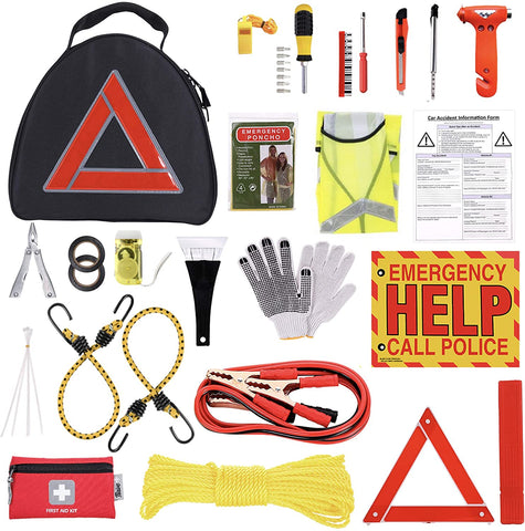 Thrive Roadside Assistance Auto Emergency Kit + First Aid Kit – Triangle Bag