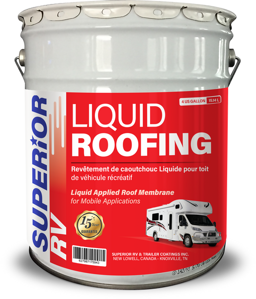Superior RV Liquid Rubber Roofing for 14-19ft RV, Camper, Trailer, Motorhome 4 Gallons FREE Shipping