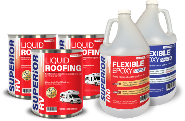 RV Roof Coating Kit for ALPHA, EPDM, OLD COATINGS 21 to 30 ft RV Roof