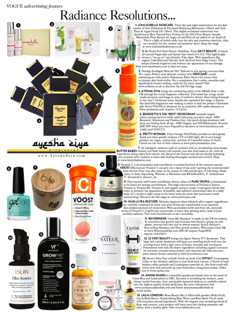 """VOGUE Advertising Feature """"Radiance Resolutions"""" featuring Benedetta's The """"Best"""" Deodorant"""