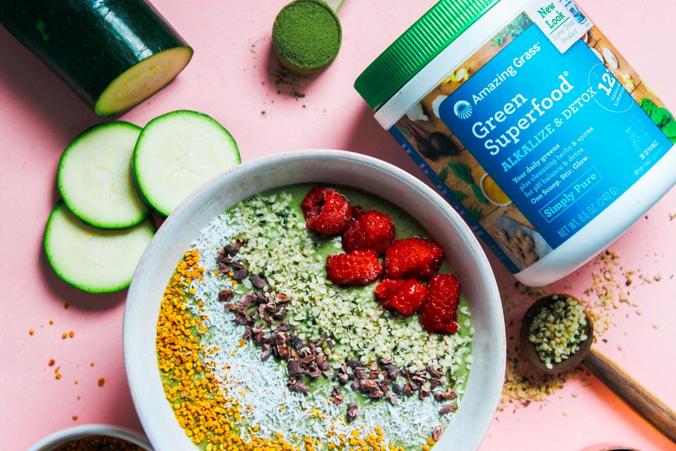 Alkaline and Detox Zucchini Smoothie Bowl recipe from Nutritiously Natalie blog