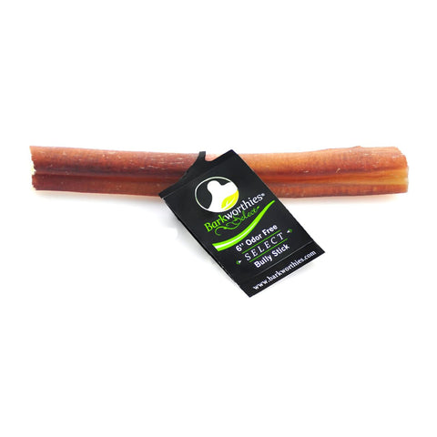 "Barkworthies Bully Stick - Odor Free - 06"" Select Dog Treat"