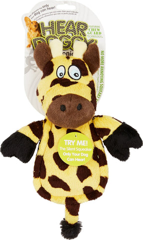Hear Doggy!® Silent Squeaker Chew Guard Flattie Giraffe Dog Toy