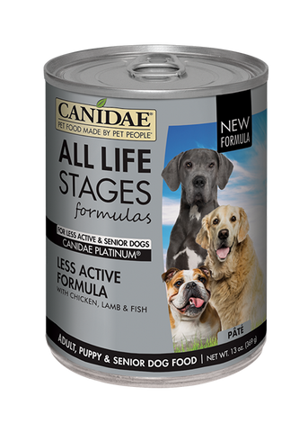 CANIDAE® ALL LIFE STAGES PLATINUM For Less Active Dogs  CHICKEN, LAMB & FISH FORMULA  WET FOOD