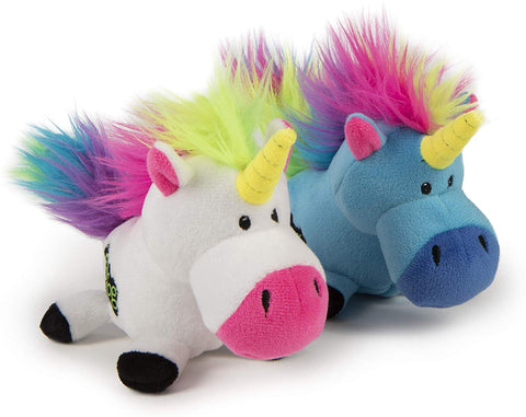 goDog® Plush Unicorn Dog Toy, Blue