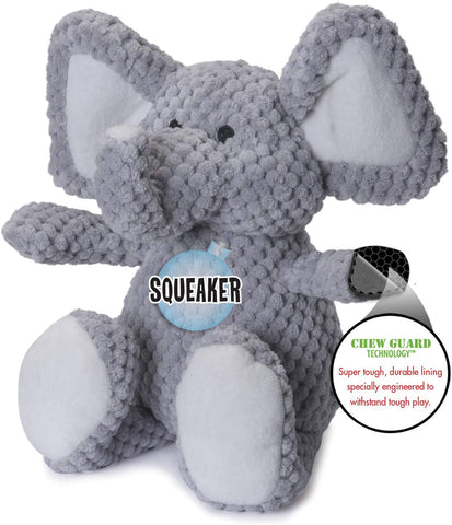 goDog® Checkers Elephant with Chew Guard Technology Durable Plush Dog Toy
