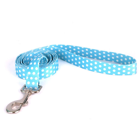 Yellow Dog - New Blue Polka Dot Leash