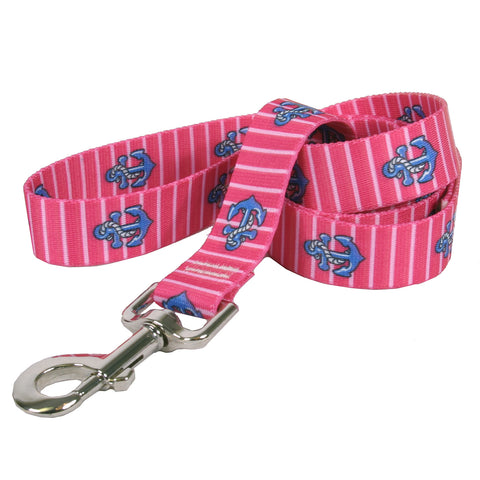 Yellow Dog - Anchors on Pink Stripes Leash
