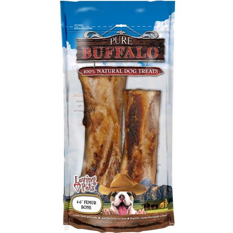 "Pure Buffalo Femur Bones 4-6"" 2 Pack"