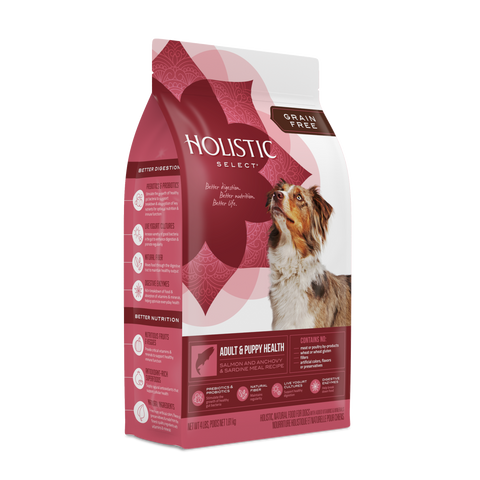 Holistic Select® Grain Free Adult & Puppy Health-Salmon, Anchovy, & Sardine Meals Dog Food