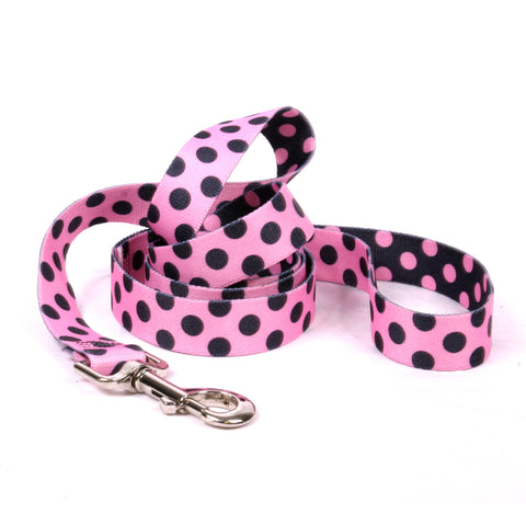 Yellow Dog - Pink & Black Polka Dot Leash