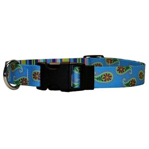 Yellow Dog - Blue Paisley Stripes Collar