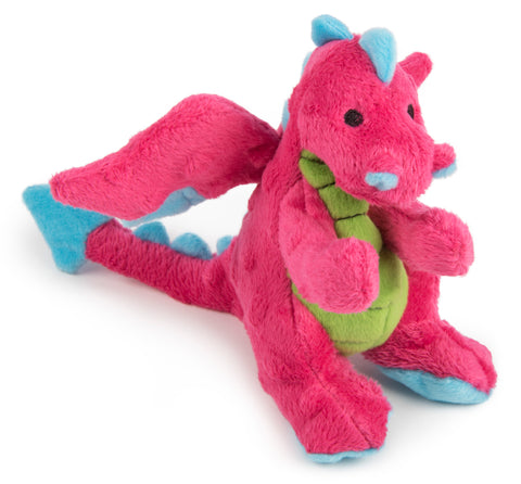 goDog® Plush Dragon Dog Toy with Chew Guard Technology, Small, Pink