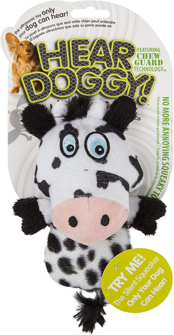 Hear Doggy!® Mini Flattie Cow with Chew Guard Silent Squeak Dog Toy