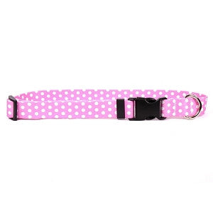 Yellow Dog - New Pink Polka Dot Collar