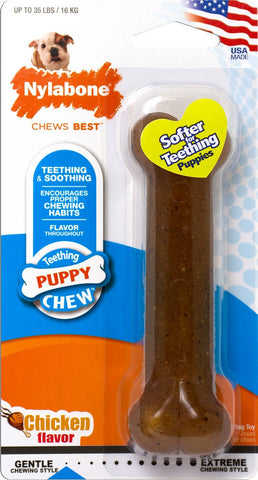 Nylabone Puppy Chew Bone Chicken Flavor Dog Toy
