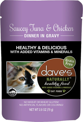 Dave's Pet Food Saucey Tuna & Chicken Dinner in Gravy Grain-Free Wet Cat Food, 2.8-oz