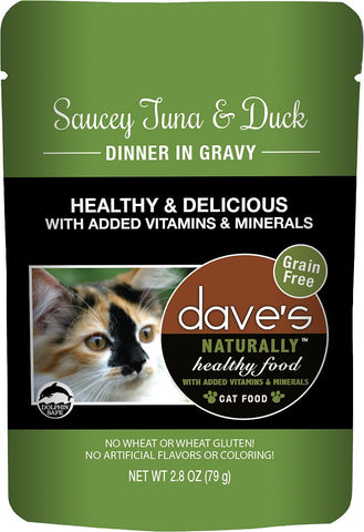 Dave's Pet Food Saucey Tuna & Duck Dinner in Gravy Grain-Free Wet Cat Food, 2.8-oz