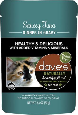 Dave's Pet Food Saucey Tuna Dinner in Gravy Grain-Free Wet Cat Food, 2.8-oz