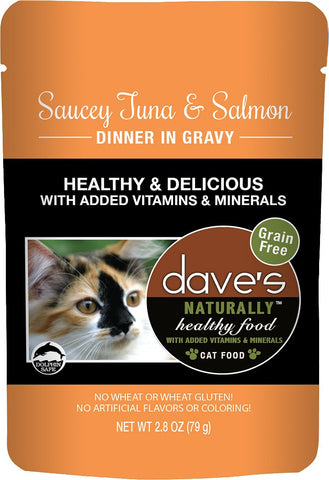 Dave's Pet Food Saucey Tuna & Salmon Dinner in Gravy Grain-Free Wet Cat Food, 2.8-oz