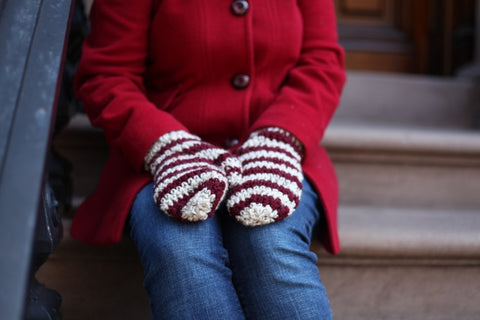 Rustic Crochet Mittens in Maroon/Wheat