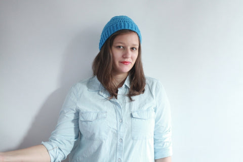 Me! Modeling the Knit Lounge Beanie