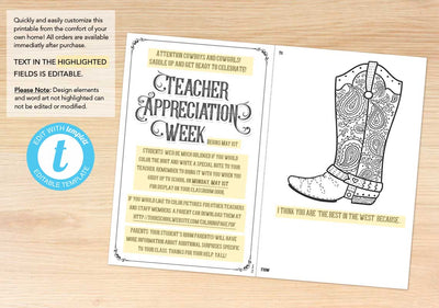 """Best in the West"" Teacher Appreciation Coloring Sheet - The Appreciation Shop"