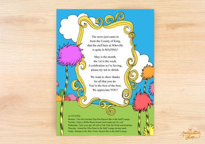 Dr. Seuss Inspired Flyer - The Appreciation Shop