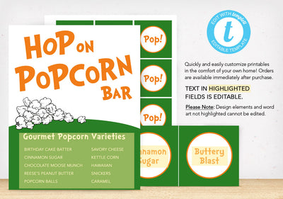 Hop on Popcorn Bar Printables - The Appreciation Shop