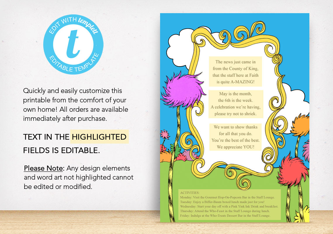 Dr. Seuss Inspired Invitation - The Appreciation Shop