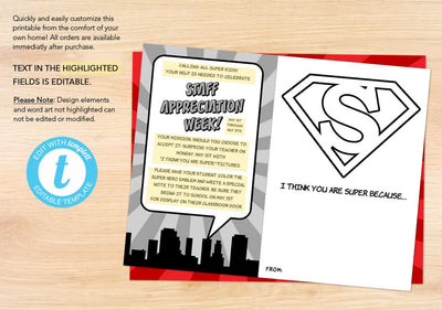 """I Think You Are Super!"" Staff Appreciation Coloring Sheet - The Appreciation Shop"