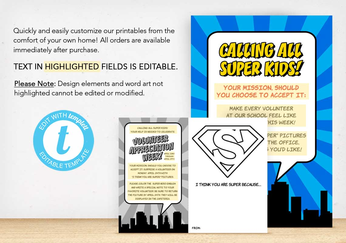 """I Think You Are Super!"" Volunteer Appreciation Coloring Sheet and Posters - The Appreciation Shop"
