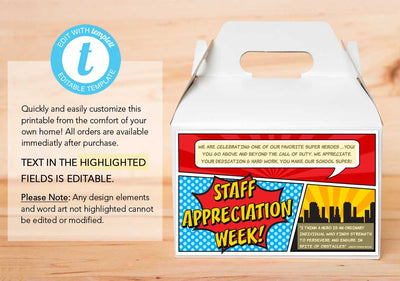 Staff Appreciation Week Gable Box Label - The Appreciation Shop