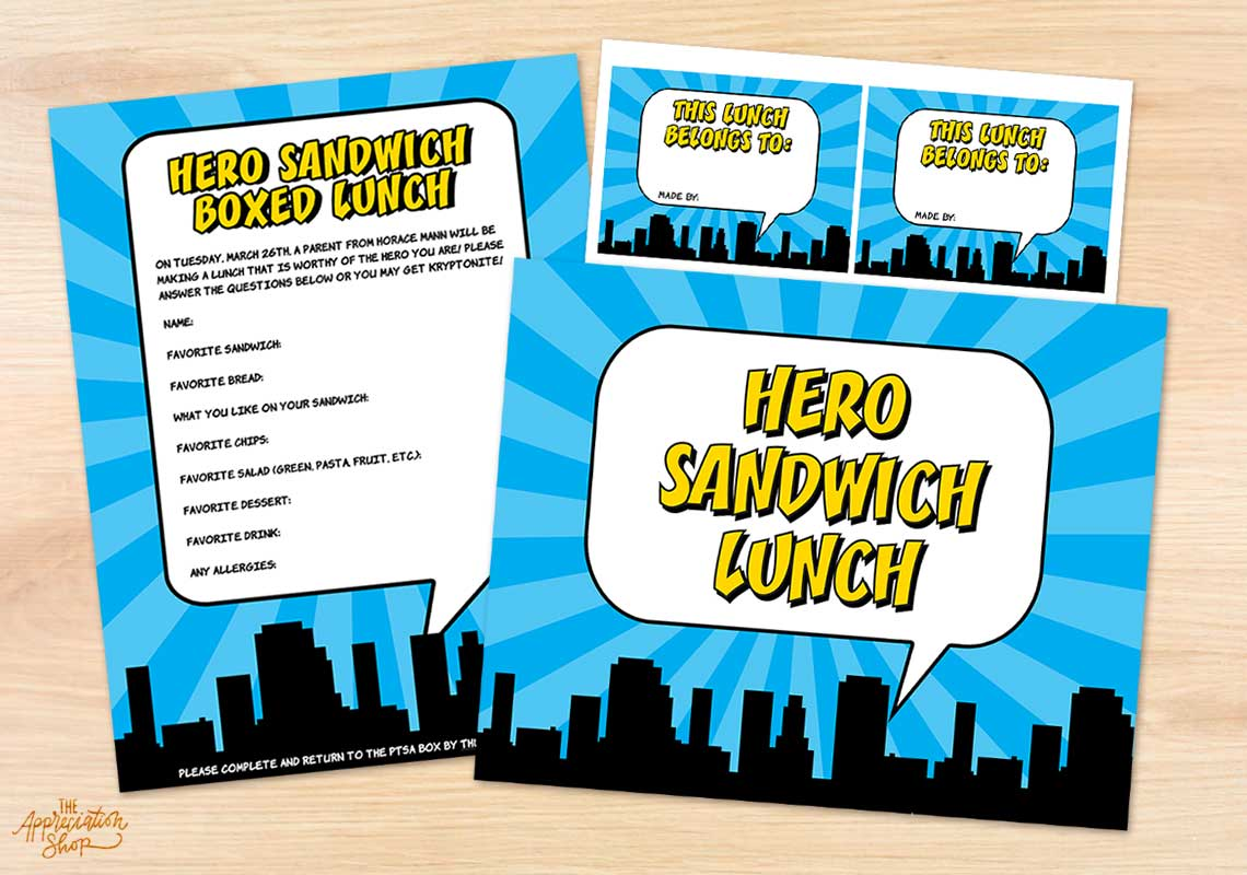Hero Sandwich Lunch Printables - The Appreciation Shop
