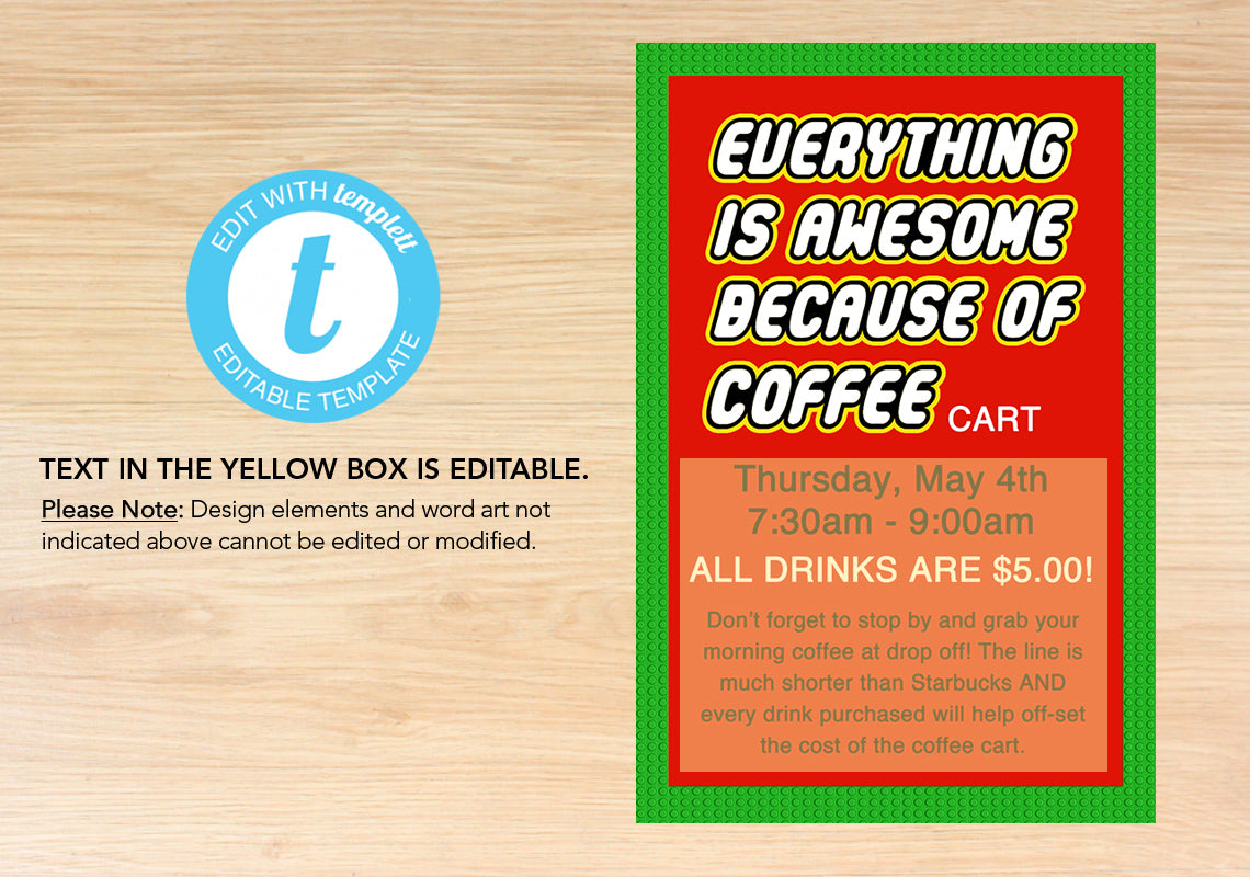 """Everything is Awesome... Because of Coffee"" Printables - The Appreciation Shop"