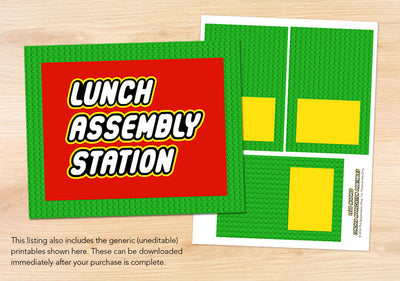 Lunch Assembly Station Sign + Labels - The Appreciation Shop