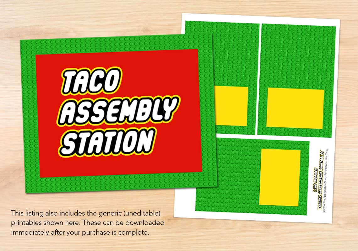 Taco Assembly Station Sign + Labels - The Appreciation Shop