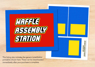 Waffle Assembly Station Sign + Labels - The Appreciation Shop